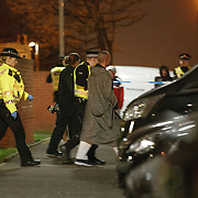 Police arrest a man after a siege situation in Old Shettleston Road, Glasgow.  Picture Robert Perry 14th April 2016<br /> <br /> Must credit photo to Robert Perry<br /> FEE PAYABLE FOR REPRO USE<br /> FEE PAYABLE FOR ALL INTERNET USE<br /> www.robertperry.co.uk<br /> NB -This image is not to be distributed without the prior consent of the copyright holder.<br /> in using this image you agree to abide by terms and conditions as stated in this caption.<br /> All monies payable to Robert Perry<br /> <br /> (PLEASE DO NOT REMOVE THIS CAPTION)<br /> This image is intended for Editorial use (e.g. news). Any commercial or promotional use requires additional clearance. <br /> Copyright 2014 All rights protected.<br /> first use only<br /> contact details<br /> Robert Perry     <br /> 07702 631 477<br /> robertperryphotos@gmail.com<br /> no internet usage without prior consent.         <br /> Robert Perry reserves the right to pursue unauthorised use of this image . If you violate my intellectual property you may be liable for  damages, loss of income, and profits you derive from the use of this image.
