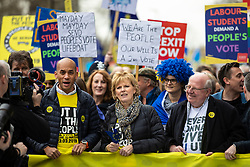 "© Licensed to London News Pictures. 23/03/2019. London, UK. Independent Group MPs Chuka Umunna (L) and Anna Soubry (C) on the People's Vote demonstration in which an estimated one million people marched through central London to demand that government allow a ""People's Vote"" on the Brexit deal. Several key votes will be held in Parliament in the coming week. Photo credit: Rob Pinney/LNP"