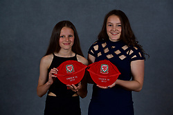 NEWPORT, WALES - Saturday, May 19, 2018: Libby Isaac and Maria Francis-Jones during the Football Association of Wales Under-16's Caps Presentation at the Celtic Manor Resort. (Pic by David Rawcliffe/Propaganda)