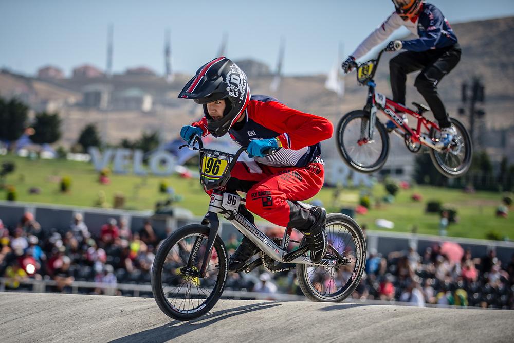 14 Boys #96 (PETEZKI Tom) FRA at the 2018 UCI BMX World Championships in Baku, Azerbaijan.