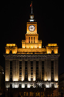 custom house the bund at night n the city of Shanghai China popular republic