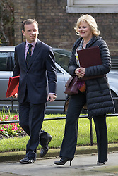 Downing Street, London, April 12th 2016. Welsh Secretary Alun Cairns and Small Business Minister Anna Soubry arrive at the weekly cabinet meeting. <br /> ©Paul Davey<br /> FOR LICENCING CONTACT: Paul Davey +44 (0) 7966 016 296 paul@pauldaveycreative.co.uk