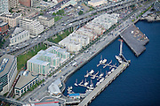 New condominiums and Bell Harbor Marina, a dock for boats visiting Seattle, bring public life to the city's waterfront.