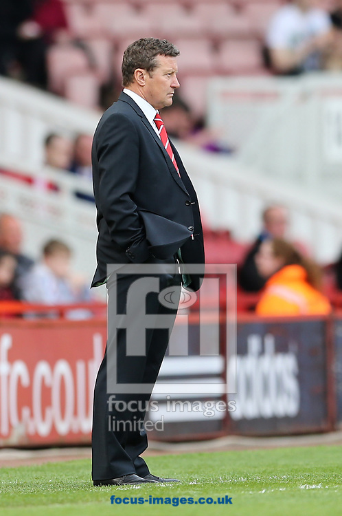 Barnsley manager Danny Wilson during the Sky Bet Championship match at the Riverside Stadium, Middlesbrough<br /> Picture by Simon Moore/Focus Images Ltd 07807 671782<br /> 26/04/2014