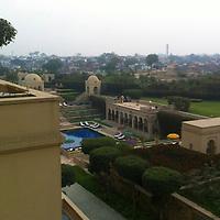 Asia, India, Agra. Oberoi Amarvilas Luxury Hotel terrace view.