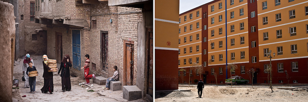RIGHT: New apartment complex for relocated residents from old city in Kashgar, China.<br />