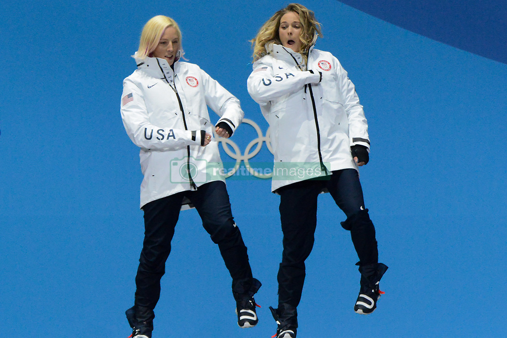 February 22, 2018 - Pyeongchang, South Korea - KIKKAN RANDALL and Jessica Diggins of the United States celebrate getting the gold medal in the Ladies' Team Sprint Free cross-country skiing event in the PyeongChang Olympic Games. (Credit Image: © Christopher Levy via ZUMA Wire)