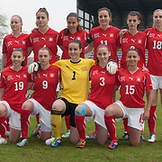 21120413 - HARELBEKE, BELGIUM : Team Switzerland poses for a team picture during the Second qualifying round of U17 Women Championship between Switzerland and Belgium on Friday April 13th, 2012 in Harelbeke, Belgium.