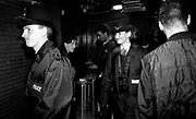 Police patrol the Hacienda club in Manchester due to the rise in the drug and gang related incidents, early 1990's