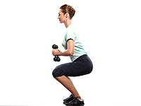one beautiful caucasian woman exercising Weight Training workout on studio isolated white background