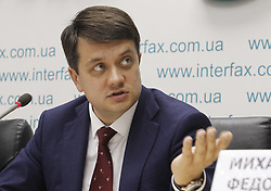 May 27, 2019 - Kiev, Ukraine - An adviser of Ukrainian President Volodymyr Zelensky and head of political party 'Servant of the people' Dmytro Razumkov speaks during a press conference, about participation of party of Ukrainian President Volodymyr Zelensky 'Servant of the people' in early parliamentary elections in Kiev, Ukraine, on 27 May, 2019. (Credit Image: © Str/NurPhoto via ZUMA Press)