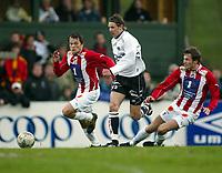 Fotball, 26. april 2003, Tippeligaen, Sogndal-Tromsø 3-1. Alexander Ødegaard, Sogndal mot Miika Koppinen og Hans Åge Yndestad (t.v.), Tromsø
