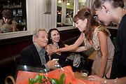 MAX STAFFORD-CLARK; STELLA FEEHY; LISA KERR; LAURA ELPHINSTONE, , Caryl Churchill's Top Girls opening night at the Trafalgar Studios. Party afterwards in Walker's Court. London. 16 August 2011. <br /> <br />  , -DO NOT ARCHIVE-© Copyright Photograph by Dafydd Jones. 248 Clapham Rd. London SW9 0PZ. Tel 0207 820 0771. www.dafjones.com.