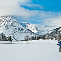 woman backcountry skiing
