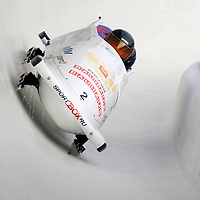 28 February 2007:   The Russia 1 bobsled driven by Alexsandr Zubkov with sidepushers Roman Oreshniko and Dmitry Trunenkov, and brakeman Dmitry Stepushkin goes through turn 19 in the 1st run at the 4-Man World Championships competition on February 27 at the Olympic Sports Complex in Lake Placid, NY.