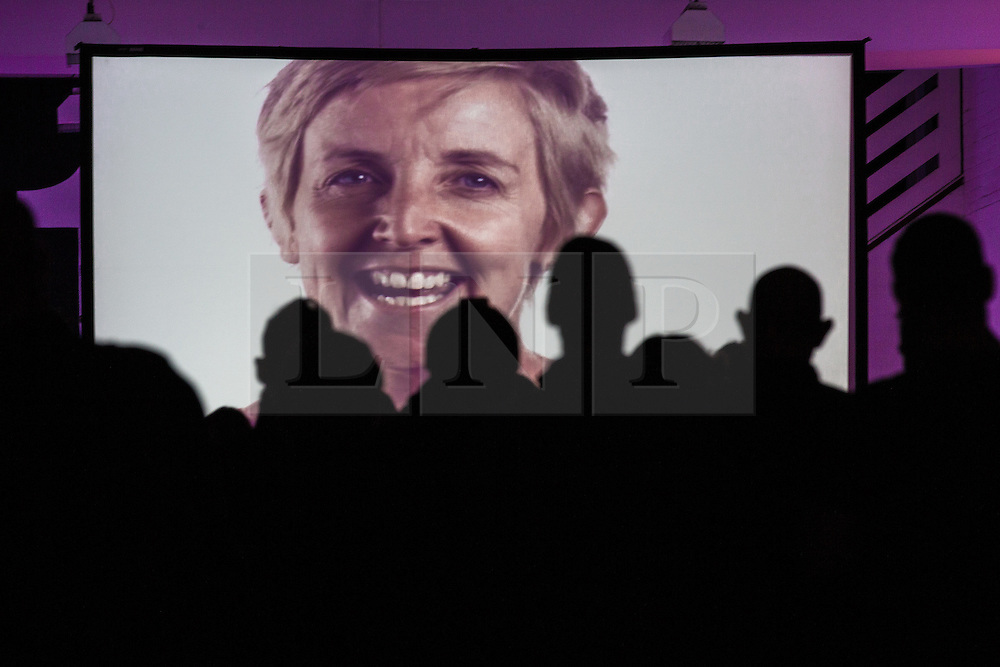 """© Licensed to London News Pictures . 14/08/2015 . Manchester , UK . People watch a recording of the tribute to Tony Wilson , """" St Anthony : an ode to Anthony H Wilson """" , featuring friends and colleagues (pictured JULIE HESMONDHALGH ) of Tony Wilson lip syncing to Mike Garry 's poem , during a tribute at Old Granada Studios . Photo credit : Joel Goodman/LNP"""