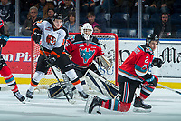 KELOWNA, CANADA - NOVEMBER 25:  Gary Haden #17 of the Medicine Hat Tigers looks for the puck as James Hilsendager #2 blocks the shot on the net of Roman Basran #30 of the Kelowna Rockets on November 25, 2017 at Prospera Place in Kelowna, British Columbia, Canada.  (Photo by Marissa Baecker/Shoot the Breeze)  *** Local Caption ***