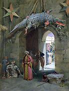 Gateway, Cairo', 1884. Watercolour. William Simpson (1823-1899) Scottish painter. Stone arch with body of crocodile  above it. Men in Arab dress walking, talking and waiting. Through arch in courtyard  man ans woman in conversation.