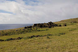 Chile, Easter Island: Platforms at site Ahu Vinapu showing two stages of stone construction, one more primitive and the latter more exquisite, possibly influenced by the Incas..Photo #: ch314-33703..Photo copyright Lee Foster www.fostertravel.com lee@fostertravel.com 510-549-2202