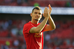 LONDON, ENGLAND - Saturday, August 6, 2016: Liverpool's Dejan Lovren after the 4-0 victory over Barcelona during the International Champions Cup match at Wembley Stadium. (Pic by Xiaoxuan Lin/Propaganda)
