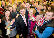 Fianna Fail elected on the eight count in Galway West Eamon  O Cuiv with his wife Aine  with his family from left  daughter Emer , Grandson Sean (3 months) , son Eamon (centre back)  Grandson Eamon 18 months Emer's husband Sean Berkery, at Leisureland, Salthill, Galway. Photo:Andrew Downes