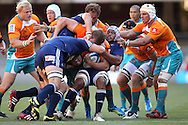 Nizaam Carr is caught in the middle during the DHL Pre-Season Series match between The Stormers and the Cheetahs held at Newlands Rugby Stadium in Newlands, Cape Town on the 4th February 2012.Photo by Ron Gaunt/SPORTZPICS
