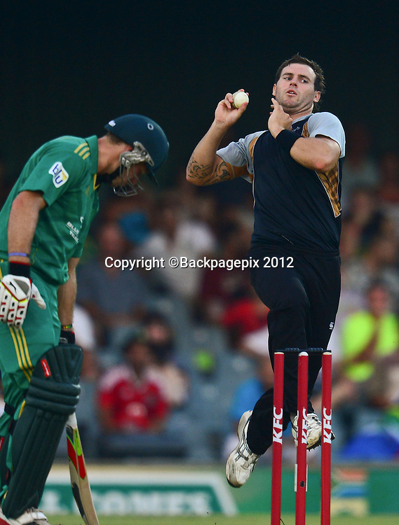 Doug Bracewell of New Zealand during the 2012 KFC T20 International between South Africa and New Zealand at Buffalo Park in East London, South Africa on December 23, 2012 ©Barry Aldworth/BackpagePix