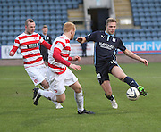 Dundee's Greg Stewart runs at Hamilton&rsquo;s Ziggy Gordon and Grant Gillespie -  Dundee v Hamilton Academical, SPFL Premiership at Dens Park <br /> <br /> <br />  - &copy; David Young - www.davidyoungphoto.co.uk - email: davidyoungphoto@gmail.com