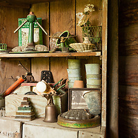 Rustic Cabin: Collectibles on porch shelves