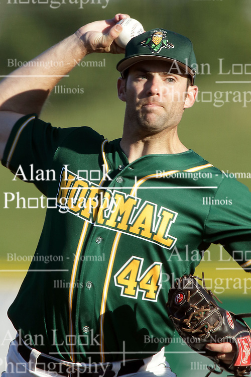 08 July 2017: Charlie Gillies during a Frontier League Baseball game between the Traverse City Beach Bums and the Normal CornBelters at Corn Crib Stadium on the campus of Heartland Community College in Normal Illinois