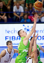 Klemen Prepelic of Slovenia vs Janis Timma  of Latvia during basketball match between National teams of Latvia and Slovenia in Qualifying Round of U20 Men European Championship Slovenia 2012, on July 16, 2012 in Domzale, Slovenia. (Photo by Vid Ponikvar / Sportida.com)