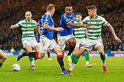 Alfredo Morelos of Rangers FC looses the ball on the edge of the Celtic box during the Betfred Scottish League Cup Final match between Rangers and Celtic at Hampden Park, Glasgow, United Kingdom on 8 December 2019.