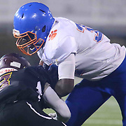Delmar running back BROOKSPARKER (34) avoids the defender during the DIAA Division II state championship game between the Delmar and Milford Saturday, Dec. 02, 2017 at Delaware Stadium in Newark, DE.