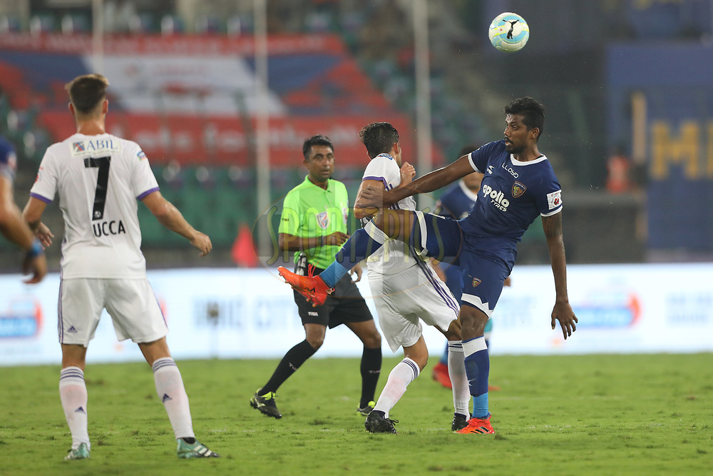 Dhanpal Ganesh of Chennaiyin FCin action during match 46 of the Hero Indian Super League between Chennaiyin FC and FC Pune City held at the Jawaharlal Nehru Stadium, Chennai India on the 13th January 2018<br /> <br /> Photo by: Arjun Singh  / ISL / SPORTZPICS