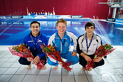 The Junior top 3 from the Mens 3m Springboard Final, (L-R) Bronze Medallist Duran Omer of Southend Diving, Gold Medallist James Heatly of Edinburgh Diving Club and Silver Medallist Ross Haslam of City of Sheffield Diving Club - Photo mandatory by-line: Rogan Thomson/JMP - 07966 386802 - 21/02/2015 - SPORT - DIVING - Plymouth Life Centre, England - Day 2 - British Gas Diving Championships 2015.