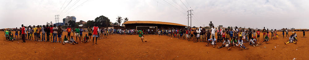 Penalty shoot out at the end of a match between The Young Stars of Kroo Bay and Bocas Junior, Kroo Bay, Freetown, Sierra Leone.