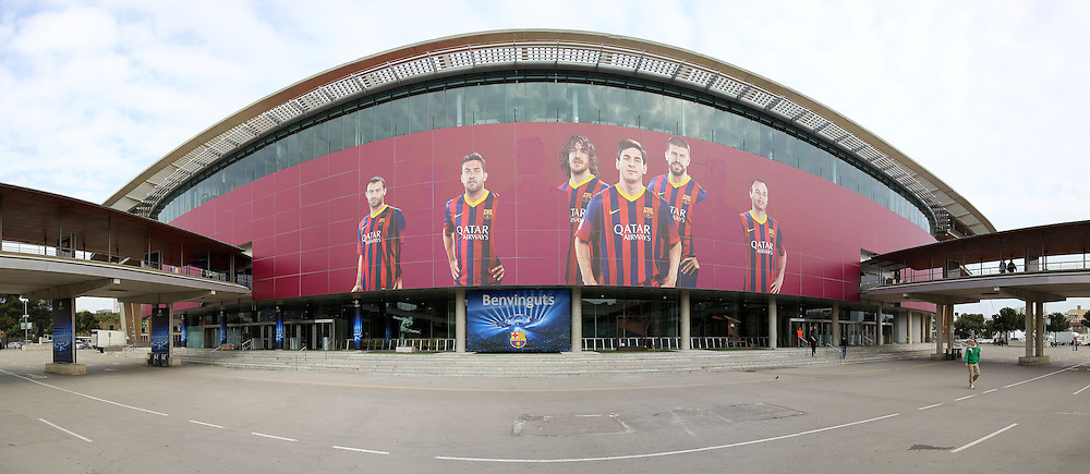 General view of Camp Nou, home of FC Barcelona, with stewardness' of Qatar Airways removed for the Champions League match against Manchester City match due to branding rights.<br /> Picture by Richard Calver/Focus Images Ltd +447792 981244<br /> 11/03/2014