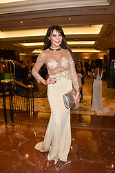 Lizzie Cundy at The Asian Awards, The Hilton Park Lane, London England. 5 May 2017.<br /> Photo by Dominic O'Neill/SilverHub 0203 174 1069 sales@silverhubmedia.com
