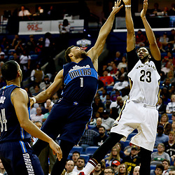 Dec 26, 2016; New Orleans, LA, USA;  New Orleans Pelicans forward Anthony Davis (23) shoots over Dallas Mavericks guard Justin Anderson (1) during the second half of a game at the Smoothie King Center. The Pelicans defeated the Mavericks 111-104.  Mandatory Credit: Derick E. Hingle-USA TODAY Sports
