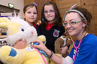 24/02/2013.  Isabel Keane and Isobel Tiernan from Scoil Sheamais Naofa Bearna with NUIG second year Med student  Sinead Brady from Dublin at the Teddybear Hospital a training day for students and Get to know your the hospital for Children and Teddys. .Picture:Andrew Downes