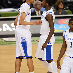 Apr 2, 2012; New Orleans, LA, USA; Kentucky Wildcats forward Anthony Davis (left) and forward Michael Kidd-Gilchrist (right) react late in the second half in the finals of the 2012 NCAA men's basketball Final Four against the Kansas Jayhawks at the Mercedes-Benz Superdome. Mandatory Credit: Derick E. Hingle-US PRESSWIRE