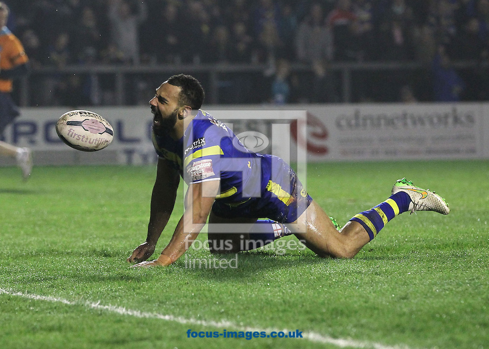 Ryan Atkins of Warrington Wolves celebrates scoring the third try against Leeds Rhinos during the First Utility Super League match at the Halliwell Jones Stadium, Warrington.<br /> Picture by Michael Sedgwick/Focus Images Ltd +44 7900 363072<br /> 13/03/2015