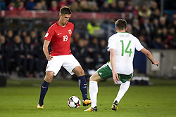 October 8, 2017 - Oslo, NORWAY - 171008 Markus Henriksen of Norway and Stuart Dallas of Northern Ireland during the FIFA World Cup Qualifier match between Norway and Northern Ireland on October 8, 2017 in Oslo..Photo: Jon Olav Nesvold / BILDBYRÃ…N / kod JE / 160041 (Credit Image: © Jon Olav Nesvold/Bildbyran via ZUMA Wire)
