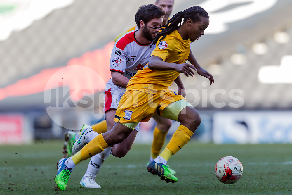 Daniel Johnson of Preston North End plays the ball during the Sky Bet League 1 match between Milton Keynes Dons and Preston North End at stadium:mk, Milton Keynes, England on 7 March 2015. Photo by Gareth  Brown.