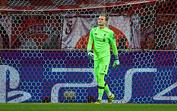 MOSCOW, RUSSIA - Tuesday, September 26, 2017: Liverpool's goalkeeper Loris Karius looks dejected as FC Spartak Moscow score the opening goal during the UEFA Champions League Group E match between Spartak Moscow and Liverpool at the Otkrytie Arena. (Pic by David Rawcliffe/Propaganda)