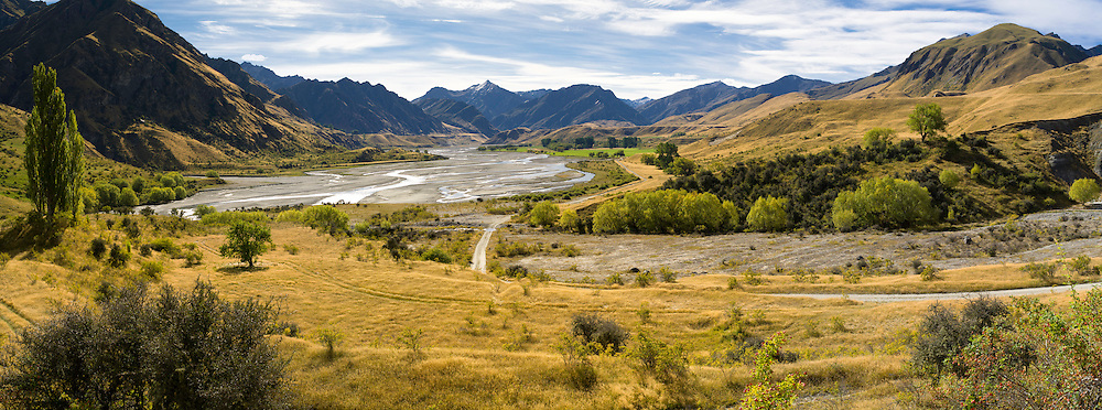 Looking north over The Branches and the Shotover River, near Queenstown, Otago, New Zealand; Mount Greenland is in the background.