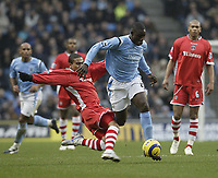 Photo: Aidan Ellis.<br /> Manchester City v Charlton Athletic. The Barclays Premiership. 12/02/2006.<br /> Charlton's Jerome Thomas challenges City's Micah Richards