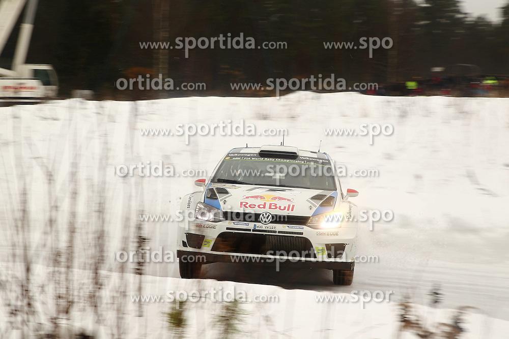 07.02.2014, Hagfors, Karlstad, SWE, FIA, WRC, Schweden Rallye, Tag 3, im Bild Jari-Matti Latvala/Miikka Anttila (Volkswagen Motorsport/Polo R WRC), Action / Aktion // during Day 3 of the FIA WRC Sweden Rally at the Hagfors in Karlstad, Sweden on 2014/02/07. EXPA Pictures &copy; 2014, PhotoCredit: EXPA/ Eibner-Pressefoto/ Bermel<br /> <br /> *****ATTENTION - OUT of GER*****