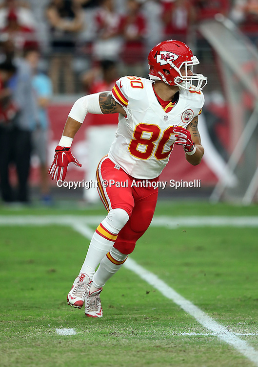 Kansas City Chiefs tight end James O'Shaughnessy (80) goes out for a pass during the 2015 NFL preseason football game against the Arizona Cardinals on Saturday, Aug. 15, 2015 in Glendale, Ariz. The Chiefs won the game 34-19. (©Paul Anthony Spinelli)
