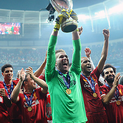 Liverpool players and Goalkeeper Adrian victory celebrates after the UEFA SUPERCUP match between Liverpool and Chelsea at Vodafone Park in Istanbul , Turkey on August 14 , 2019. <br /> Photo : Seskimphoto / Icon Sport